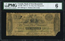 St. John, NB- Bank of New Brunswick $1 1.11.1860 Ch.# 515-14-02 PMG Good 6. A rare issue that is missing from many collections. Especially desirable a...