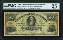 St. John's, NF- Union Bank of Newfoundland $2 1.5.1882 Ch.# 750-16-02 PMG Very Fine 25. A scarce 19th century offering, and pleasing in problem free, ...