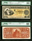 Toronto, ON- Canadian Bank of Commerce $5 2.1.1892 Ch.# 75-14-04P1; P2 Front and Back Uniface Proofs PMG Choice Uncirculated 64 EPQ; Uncirculated 60. ...