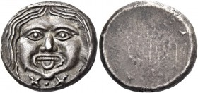 Populonia. 20 units after 211, AR 8.59 g. Gorgoneion; below, X:X. Rev. Blank. Vecchi, Rasna 51.6 (this coin). Vecchi 58.1 (this coin). SNG Lockett 40 ...