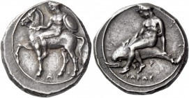 Calabria, Tarentum. Nomos circa 390-385, AR 7.88 g. Horseman l., holding reins with r. hand and shield with l.; below, A. Rev. ΤΑΡΑΣ Dolphin rider l.,...