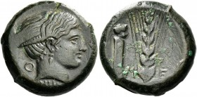 Metapontum. Bronze circa 425-350, Æ 9.39 g. Female head r . Rev. M – E Ear of barley; in l. field, ithyphallic herm. SNG ANS 553. AMB 147 (this coin)....