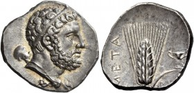 Metapontum. Nomos circa 290-280, AR 7.89 g. Diademed head of Heracles r., lion's skin tied around neck and club over l. shoulder. Rev. META Ear of bar...
