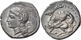 Velia. Nomos circa 290-280/275, AR 7.57 g. Head of Athena l., wearing crested Attic helmet decorated with Pegasus; above visor, [A], below the neck, Φ...