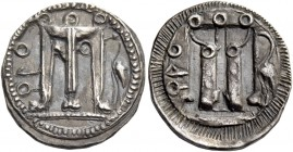 Croton. Drachm circa 530-520, AR 2.32 g. [koppa]PO Tripod; in r. field, marsh bird. Rev. The same type incuse. SNG ANS 302 var. (bird in l. field). Hi...
