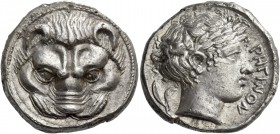 Rhegium. Tetradrachm circa 420-410, AR 17.09 g. Lion mask facing. Rev. PEΓINOΣ Laureate head of Apollo r.; behind, olive sprig. Herzfelder 83. SNG Abe...