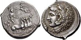 Camarina. Tetradrachm circa 425-405, AR 16.82 g. Fast quadriga driven r. by helmeted Athena, holding reins and kentron; above the horses Nike flying l...
