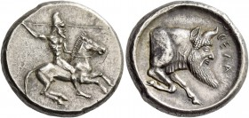 Gela. Didrachm circa 490/485-480-475, AR 8.68 g. Naked and helmeted rider on prancing horse r., wielding spear in raised r. hand, l. arm behind horse'...