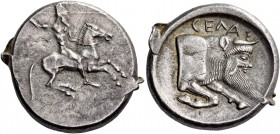 Gela. Didrachm circa 490/485-480-475, AR 8.63 g. Naked horseman r., hurling javelin from upraised r. hand. Rev. CEΛΑΣ Forepart of man-headed bull (the...