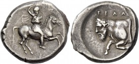 Gela. Didrachm circa 420-415, AR 8.76 g. Rider galloping r., wearing Phrygian helmet, short chiton and chlamys, hurling javelin from upraised r. hand....