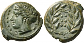 Himera. Hemilitra circa 415-409, Æ 4.71 g. IM – E Head of nymph l., wearing sphendone; in l. field, six pellets. Rev. Six pellets within wreath. SNG C...