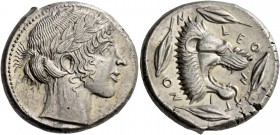 Leontini. Tetradrachm circa 455-450, AR 17.38 g. Laureate head of Apollo r. Rev. LEO – N – TI – NO – N Lion's head r., with jaws open and tongue protr...