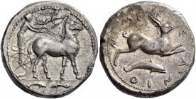 Messana. Tetradrachm circa 420-413, AR 17.25 g. Biga of mules driven r. by charioteer, wearing long chiton and holding reins in both hands and kentron...