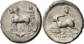 Messana. Tetradrachm circa 412-408, AR 17.34 g. Biga of mules driven l. by charioteer, holding reins and kentron. In exergue, two dolphins swimming do...