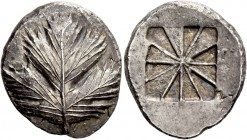 Selinus. Didrachm circa 530-500, AR 9.06 g. Selinon leaf; at base of stem, two pellets . Rev. Incuse mill sail pattern. SNG ANS 667. SNG Ashmolean 188...