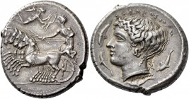 Syracuse. Tetradrachm, signed by Eumenes circa 415-400, AR 17.29 g. Prancing quadriga driven l. by charioteer holding reins and kentron; above, Nike f...
