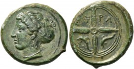 Syracuse. Hemilitra signed by Phrygillos circa 410-400, Æ 3.65 g. Head of Arethusa l., hair caught up in amphyx and sphendone; behind, ΦPY. Rev. ΣY – ...