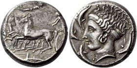 Syracuse. Tetradrachm, in the style of Eukleidas circa 405, AR 17.43 g. Fast quadriga driven l. by charioteer, holding kentron in r. hand and reins in...