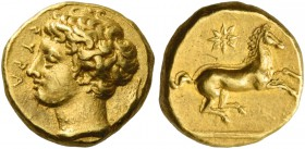 Syracuse. 50 litrae or decadrachm circa 400 BC, AV 2.88 g. ΣYPA Young male head l.; behind, barley grain. Rev. Unbridled horse prancing r.; above, eig...