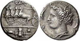 Syracuse. Decadrachm signed by Euainetos circa 400 BC, AR 43.05 g. Fast quadriga driven l. by charioteer, holding reins and kentron; in field above, N...