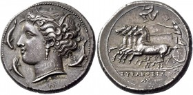 Syracuse. Tetradrachm circa 310-305, AR 17.05 g. Head of Kore-Persephone l., wearing barley wreath, triple-pendant earring and necklace; beneath neck ...