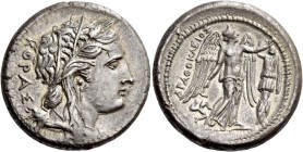 Syracuse. Tetradrachm circa 310-304, AR 16.89 g. ΚΟΡΑΣ Head of Kore-Persephone r., wearing barley wreath, earring with drop pendant and necklace; hair...