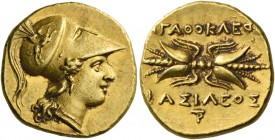 Syracuse. Double decadrachm circa 304-289, AV 5.69 g. Head of Athena r., wearing earring, necklace and crested Corinthian helmet with bowl decorated w...