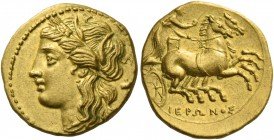 Syracuse. Decadrachm circa 269-263, AV 4.24 g. Head of Kore-Persephone l., wearing barley wreath; behind, poppy. Rev. Prancing biga driven r. by chari...