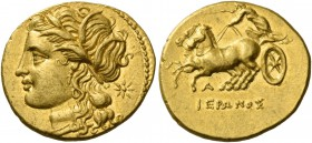 Syracuse. Decadrachm 217-214, AV 4.24 g. Head of Kore-Persephone l., wearing barley wreath; behind, star. Rev. Fast biga driven l. by charioteer holdi...