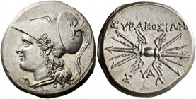 Syracuse. 8 litrae circa 214-212, AR 6.77 g. Head of Athena l., wearing Corinthian helmet decorated with griffin. Rev. ΣYPAKOΣION Winged thunderbolt; ...