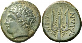 Islands off Sicily, Lipara. Bronze last quarter IV century, Æ 7.58 g. Laureate head of Apollo l. Rev. ΛIΠA – PAIΩN Trident. SNG Morcom 870. SNG Copenh...