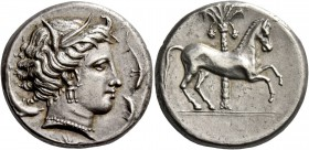 "The Carthaginians in Sicily and North Africa. Tetradrachm, uncertain mint in Sicily ""people of the camp"" circa 350-320, AR 16.78 g. Head of Tanit (Kor..."