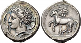 "The Carthaginians in Sicily and North Africa. Tetradrachm, uncertain mint in Sicily ""people of the camp"" circa 350-320, AR 17.08 g. Head of Tanit-Pers..."