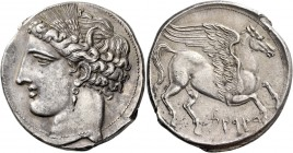 The Carthaginians in Sicily and North Africa. Decadrachm, Carthage circa 260, AR 38.04 g. Head of Tanit (Kore-Persephone) l., wearing barley wreath an...