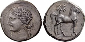 The Carthaginians in Sicily and North Africa. 3 shekels, Carthage circa 220-215, Æ 19.08 g. Wreathed head of Tanit l. Rev. Horse standing r.; in backg...