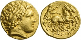 Kings of Macedonia, Philip II, 359 – 336 and posthumous issues. Stater, Lampsacus circa 323-316, AV 8.60 g. Laureate head of Apollo r. Rev. ΦΙΛΙΠΠΟΥ C...