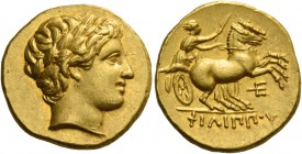 Kings of Macedonia, Philip II, 359 – 336 and posthumous issues. Stater, Amphipolis circa 323-315, AV 8.59 g. Laureate head of Apollo r. Rev. ΦΙΛΙΠΠΟΥ ...