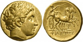 Kings of Macedonia, Philip II, 359 – 336 and posthumous issues. Stater, Pella circa 324, AV 8.61 g. Laureate head of Apollo r. Rev. ΦΙΛΙΠΠΟΥ Prancing ...