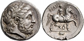 Kings of Macedonia, Philip II, 359 – 336 and posthumous issues. Tetradrachm, Pella circa 323-315, AR 14.35 g. Laureate head of Zeus r. Rev. ΦIΛIΠ – ΠO...