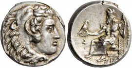 Alexander III, 336 – 323 and posthumous issues. Drachm, Sardes circa 334-323, AR 4.30 g. Head of Heracles r., wearing lion skin headdress. Rev. [AΛEΞA...