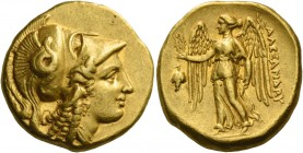 Alexander III, 336 – 323 and posthumous issues. Distater, Amphipolis circa 330-320, AV 17.18 g. Head of Athena r., wearing triple-crested Corinthian h...