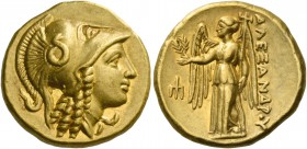 Alexander III, 336 – 323 and posthumous issues. Stater, Amphipolis 330-320, AV 8.61 g. Head of Athena r., wearing Corinthian helmet decorated with sna...