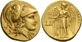 Alexander III, 336 – 323 and posthumous issues. Stater, Lampsacus 328-323, AV 8.52 g. Head of Athena r., wearing crested Corinthian helmet, bowl decor...