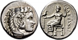 Alexander III, 336 – 323 and posthumous issues. Drachm, Lampsacus circa 328-323, AR 4.39 g. Head of Heracles r., wearing lion skin headdress. Rev. ΑΛΕ...