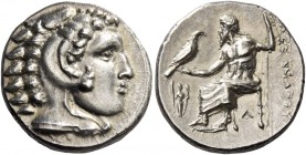 Alexander III, 336 – 323 and posthumous issues. Drachm, Lampsacus circa 328-323, AR 4.27 g. Head of Heracles r., wearing lion skin headdress. Rev. ΑΛΕ...
