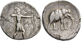 Alexander III, 336 – 323 and posthumous issues. Tetradrachm of 2 shekels, Babylon circa 327, AR 15.41 g, Indian archer standing r., drawing a large bo...