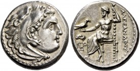 Alexander III, 336 – 323 and posthumous issues. Drachm, Magnesia ad Meandrum circa 325-323, AR 4.27 g. Head of Heracles r., wearing lion skin headdres...