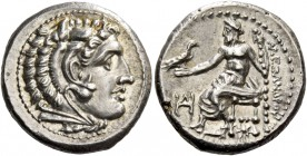 Alexander III, 336 – 323 and posthumous issues. Drachm, Miletus circa 325-323, AR 4.25 g. Head of Heracles r., wearing lion skin headdress. Rev. ΑΛΕΞΑ...