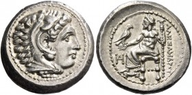 Alexander III, 336 – 323 and posthumous issues. Drachm, Miletus circa 325-323, AR 4.30 g. Head of Heracles r., wearing lion skin headdress. Rev. ΑΛΕΞΑ...