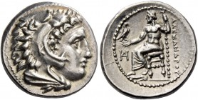 Alexander III, 336 – 323 and posthumous issues. Drachm, Miletus circa 325-323, AR 4.28 g. Head of Heracles r., wearing lion skin headdress; on which, ...